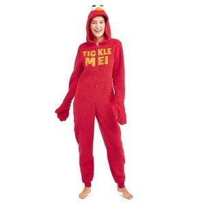 NEW Sesame Street Elmo Tickle Me Hooded Union Suit